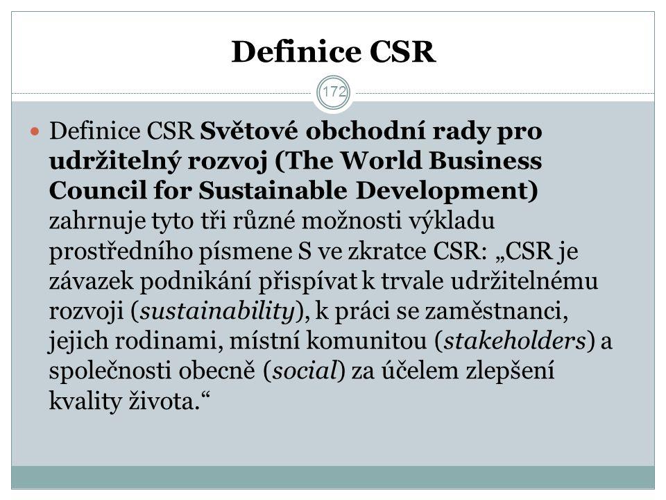 """Definice CSR Definice CSR Světové obchodní rady pro udržitelný rozvoj (The World Business Council for Sustainable Development) zahrnuje tyto tři různé možnosti výkladu prostředního písmene S ve zkratce CSR: """"CSR je závazek podnikání přispívat k trvale udržitelnému rozvoji (sustainability), k práci se zaměstnanci, jejich rodinami, místní komunitou (stakeholders) a společnosti obecně (social) za účelem zlepšení kvality života. 172"""