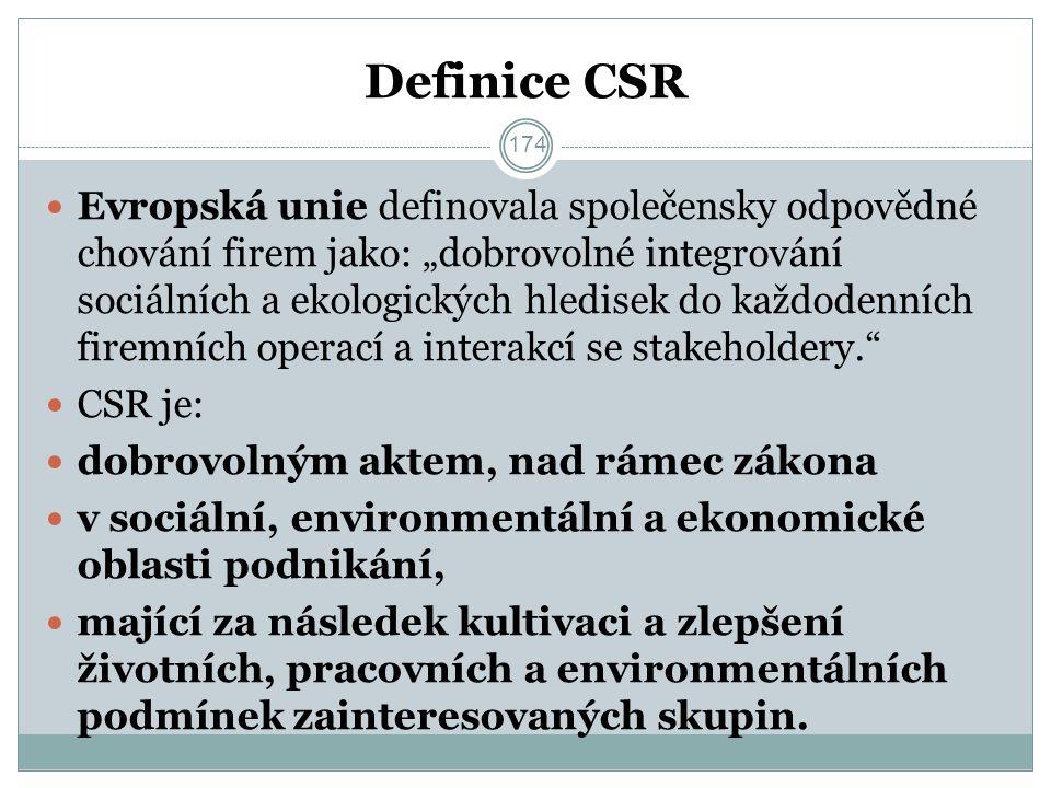 """Definice CSR Evropská unie definovala společensky odpovědné chování firem jako: """"dobrovolné integrování sociálních a ekologických hledisek do každodenních firemních operací a interakcí se stakeholdery. CSR je: dobrovolným aktem, nad rámec zákona v sociální, environmentální a ekonomické oblasti podnikání, mající za následek kultivaci a zlepšení životních, pracovních a environmentálních podmínek zainteresovaných skupin."""