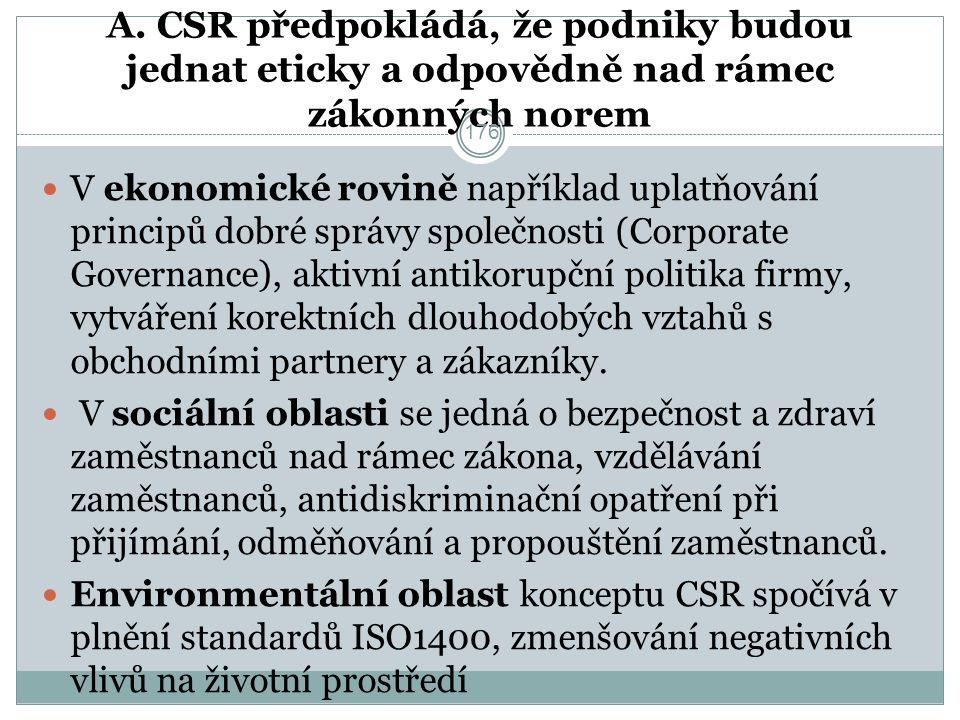 A. CSR předpokládá, že podniky budou jednat eticky a odpovědně nad rámec zákonných norem V ekonomické rovině například uplatňování principů dobré sprá