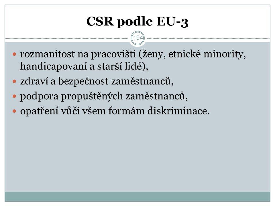 CSR podle EU-3 rozmanitost na pracovišti (ženy, etnické minority, handicapovaní a starší lidé), zdraví a bezpečnost zaměstnanců, podpora propuštěných zaměstnanců, opatření vůči všem formám diskriminace.