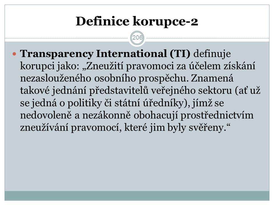 """Definice korupce-2 Transparency International (TI) definuje korupci jako: """"Zneužití pravomoci za účelem získání nezaslouženého osobního prospěchu."""