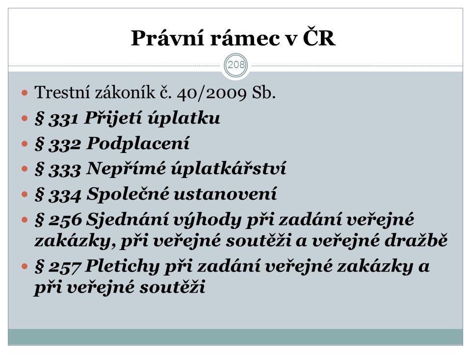 Právní rámec v ČR Trestní zákoník č. 40/2009 Sb.