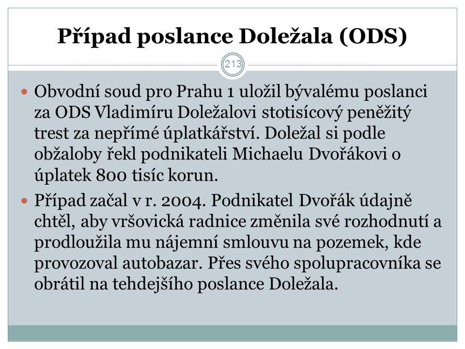 Případ poslance Doležala (ODS) Obvodní soud pro Prahu 1 uložil bývalému poslanci za ODS Vladimíru Doležalovi stotisícový peněžitý trest za nepřímé úplatkářství.