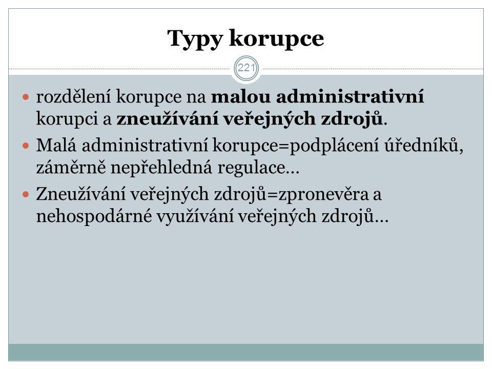 Typy korupce rozdělení korupce na malou administrativní korupci a zneužívání veřejných zdrojů.