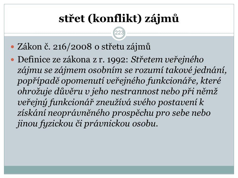 střet (konflikt) zájmů Zákon č. 216/2008 o střetu zájmů Definice ze zákona z r.