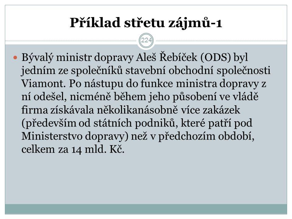 Příklad střetu zájmů-1 Bývalý ministr dopravy Aleš Řebíček (ODS) byl jedním ze společníků stavební obchodní společnosti Viamont.