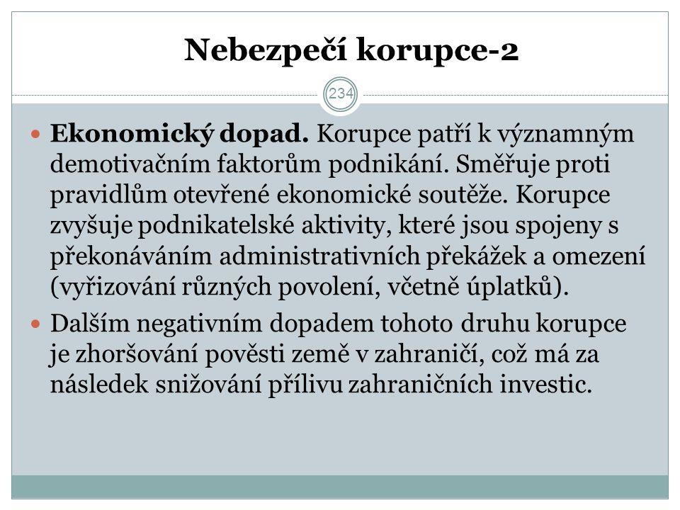 Nebezpečí korupce-2 Ekonomický dopad. Korupce patří k významným demotivačním faktorům podnikání.
