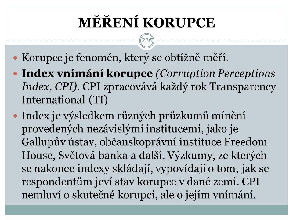 MĚŘENÍ KORUPCE Korupce je fenomén, který se obtížně měří.