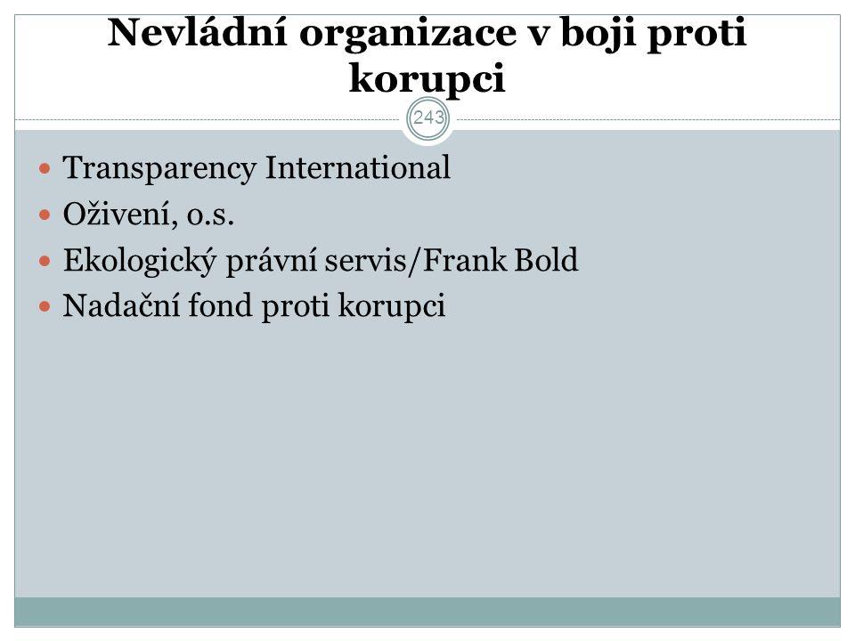 Nevládní organizace v boji proti korupci Transparency International Oživení, o.s.