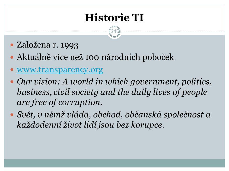 Historie TI Založena r. 1993 Aktuálně více než 100 národních poboček www.transparency.org Our vision: A world in which government, politics, business,