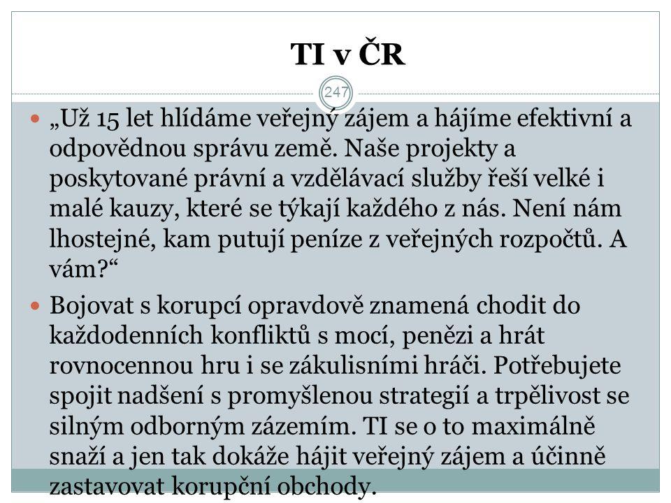 """TI v ČR """"Už 15 let hlídáme veřejný zájem a hájíme efektivní a odpovědnou správu země."""