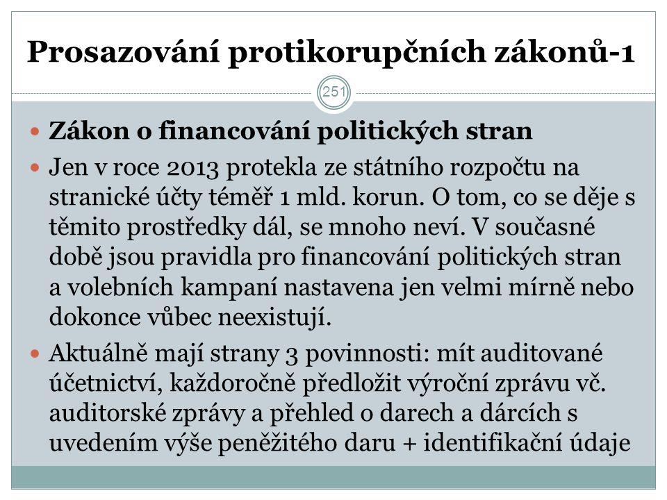 Prosazování protikorupčních zákonů-1 Zákon o financování politických stran Jen v roce 2013 protekla ze státního rozpočtu na stranické účty téměř 1 mld.