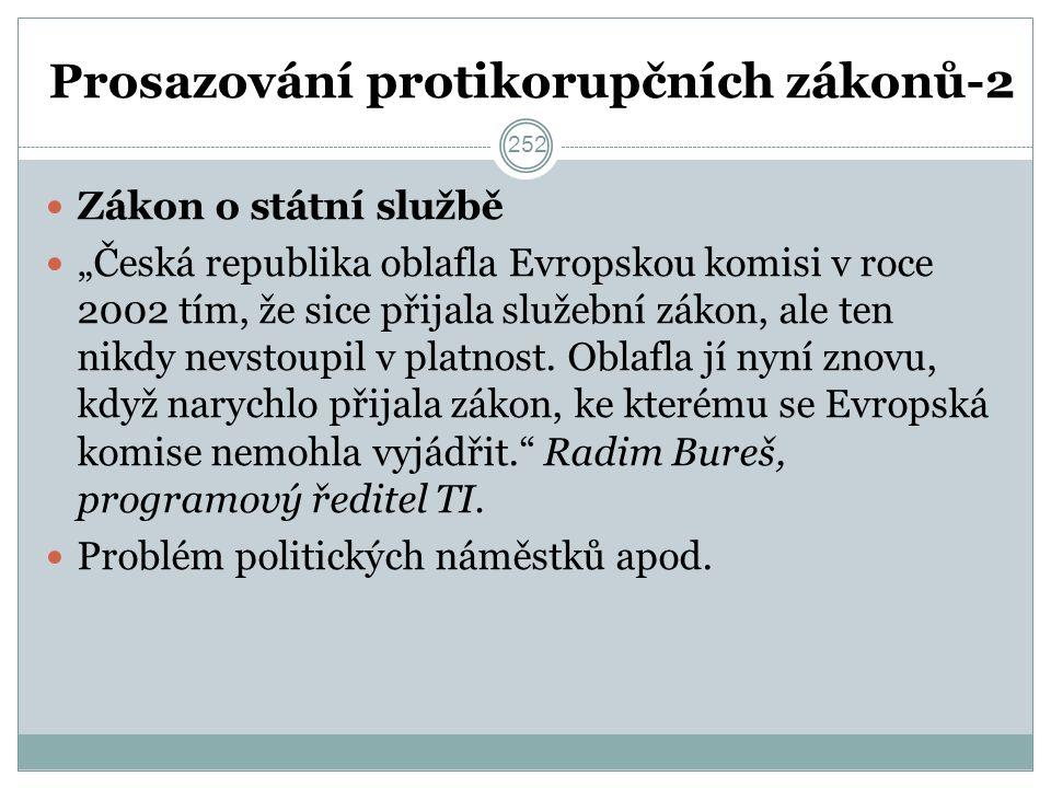 """Prosazování protikorupčních zákonů-2 Zákon o státní službě """"Česká republika oblafla Evropskou komisi v roce 2002 tím, že sice přijala služební zákon, ale ten nikdy nevstoupil v platnost."""