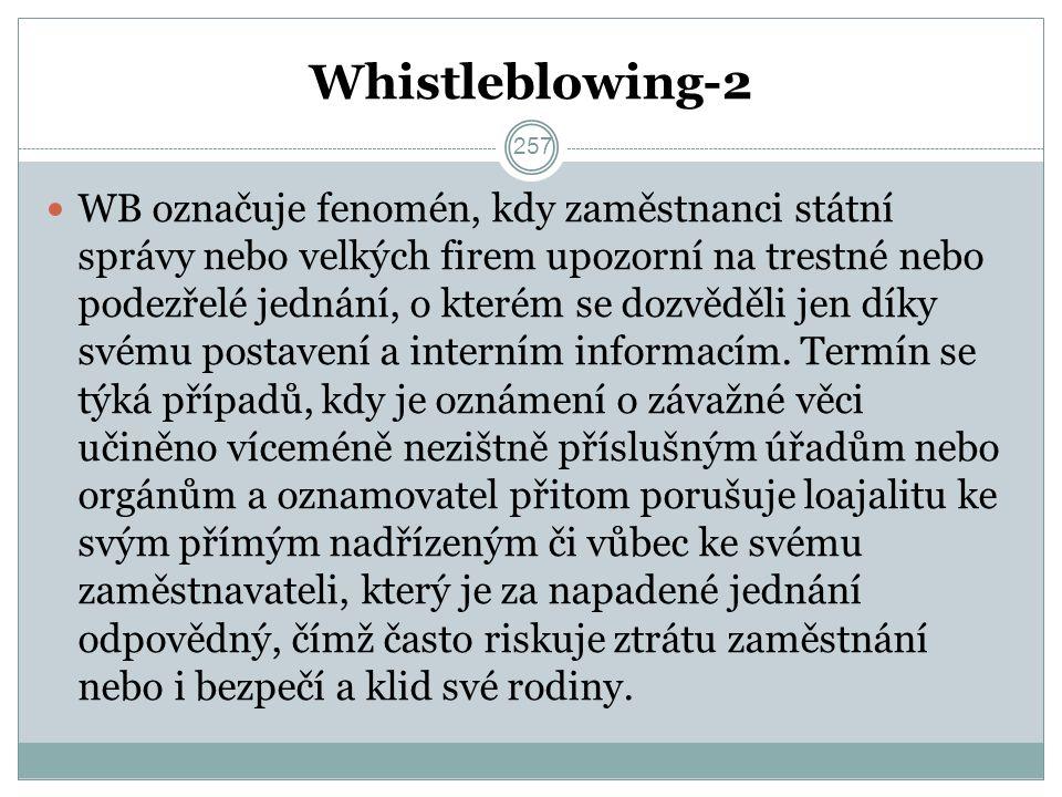 Whistleblowing-2 WB označuje fenomén, kdy zaměstnanci státní správy nebo velkých firem upozorní na trestné nebo podezřelé jednání, o kterém se dozvěděli jen díky svému postavení a interním informacím.