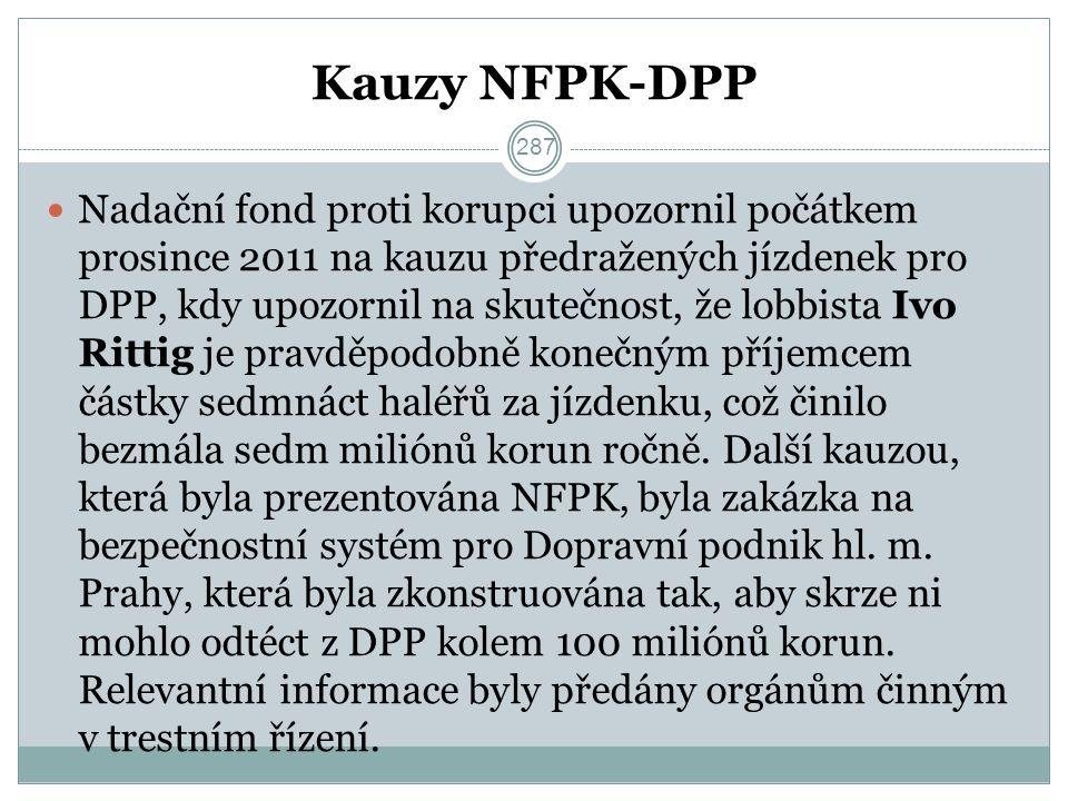 Kauzy NFPK-DPP Nadační fond proti korupci upozornil počátkem prosince 2011 na kauzu předražených jízdenek pro DPP, kdy upozornil na skutečnost, že lobbista Ivo Rittig je pravděpodobně konečným příjemcem částky sedmnáct haléřů za jízdenku, což činilo bezmála sedm miliónů korun ročně.