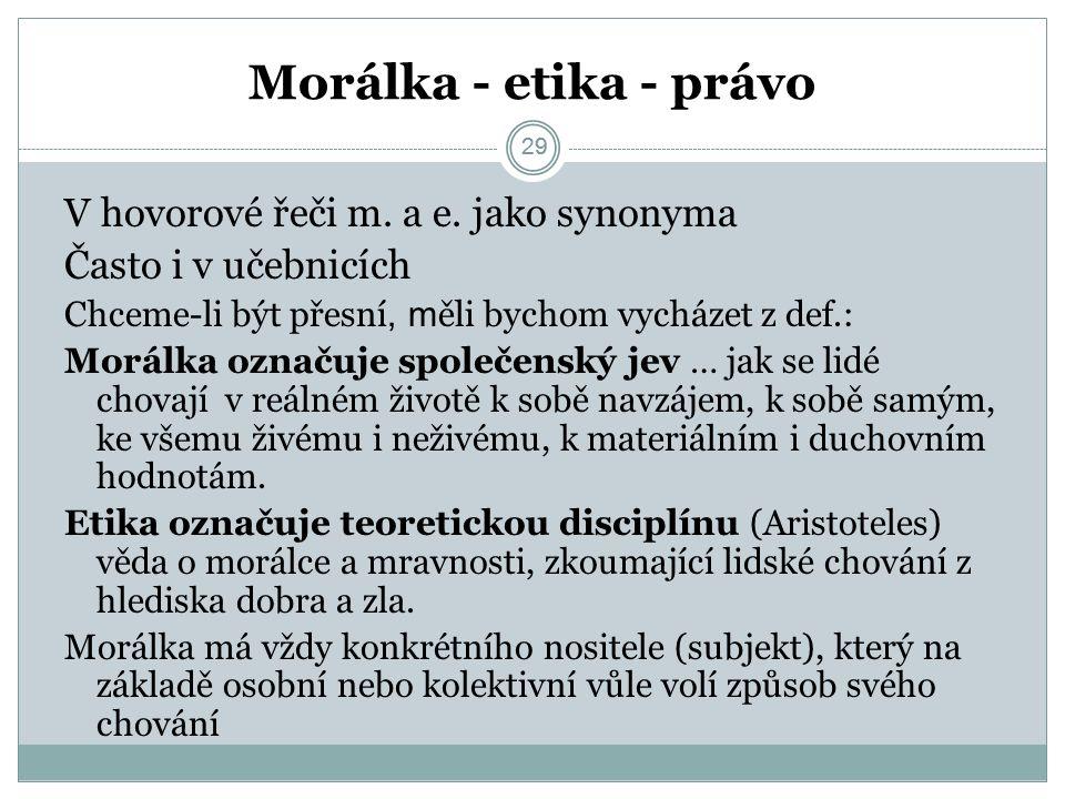 29 Morálka - etika - právo 29 V hovorové řeči m. a e.