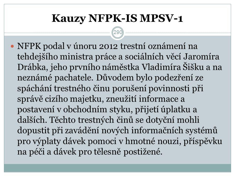 Kauzy NFPK-IS MPSV-1 NFPK podal v únoru 2012 trestní oznámení na tehdejšího ministra práce a sociálních věcí Jaromíra Drábka, jeho prvního náměstka Vladimíra Šišku a na neznámé pachatele.