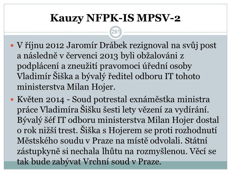 Kauzy NFPK-IS MPSV-2 V říjnu 2012 Jaromír Drábek rezignoval na svůj post a následně v červenci 2013 byli obžalováni z podplácení a zneužití pravomoci úřední osoby Vladimír Šiška a bývalý ředitel odboru IT tohoto ministerstva Milan Hojer.
