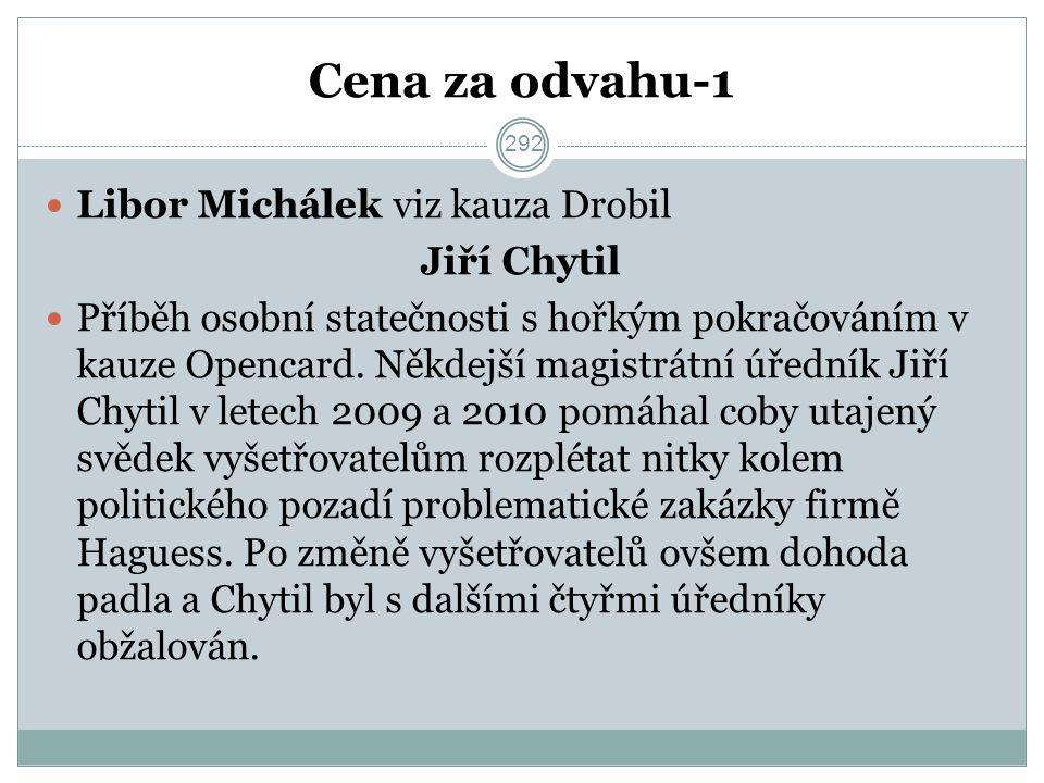Cena za odvahu-1 Libor Michálek viz kauza Drobil Jiří Chytil Příběh osobní statečnosti s hořkým pokračováním v kauze Opencard.