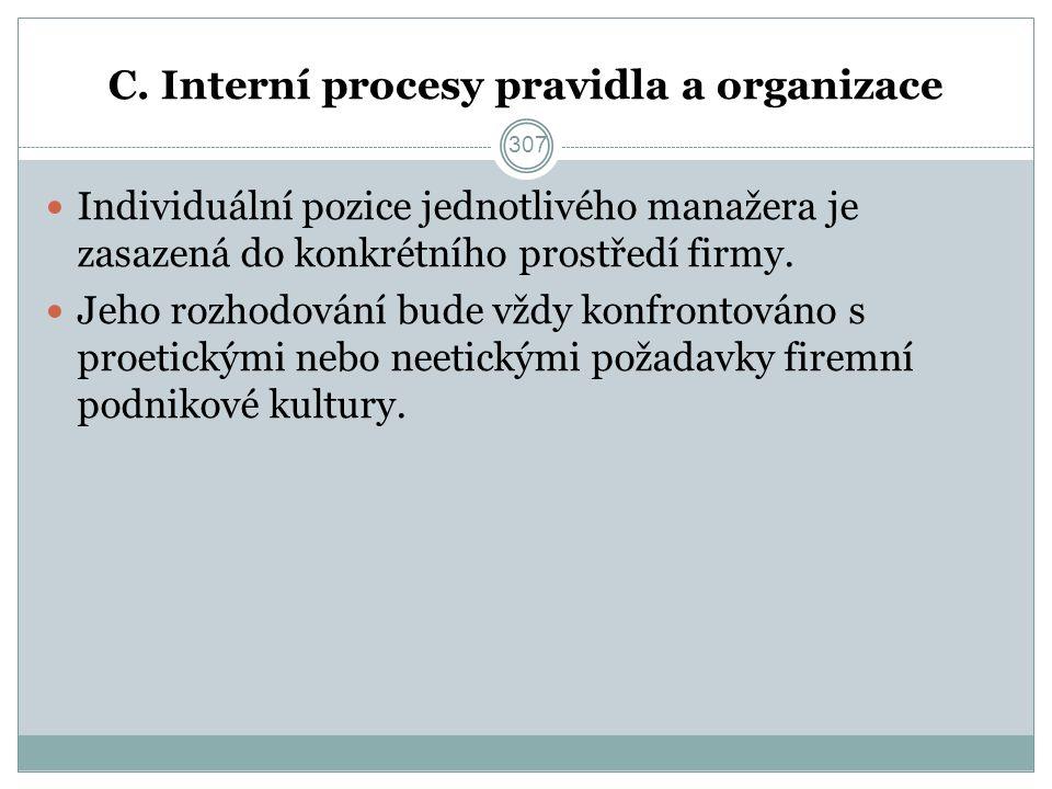 C. Interní procesy pravidla a organizace Individuální pozice jednotlivého manažera je zasazená do konkrétního prostředí firmy. Jeho rozhodování bude v