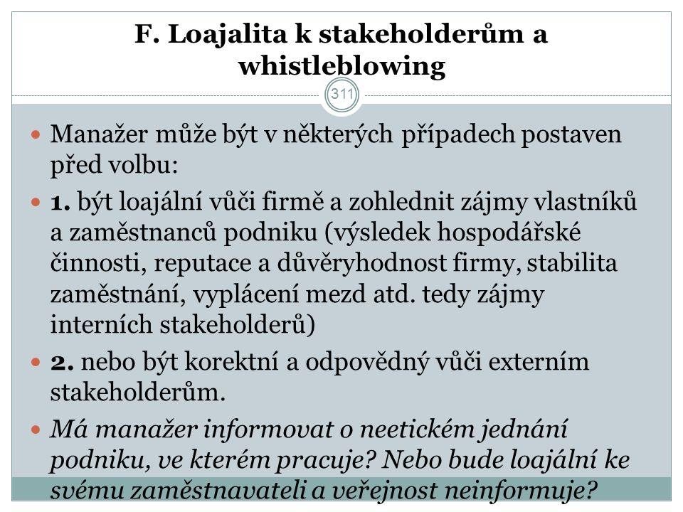 F. Loajalita k stakeholderům a whistleblowing Manažer může být v některých případech postaven před volbu: 1. být loajální vůči firmě a zohlednit zájmy