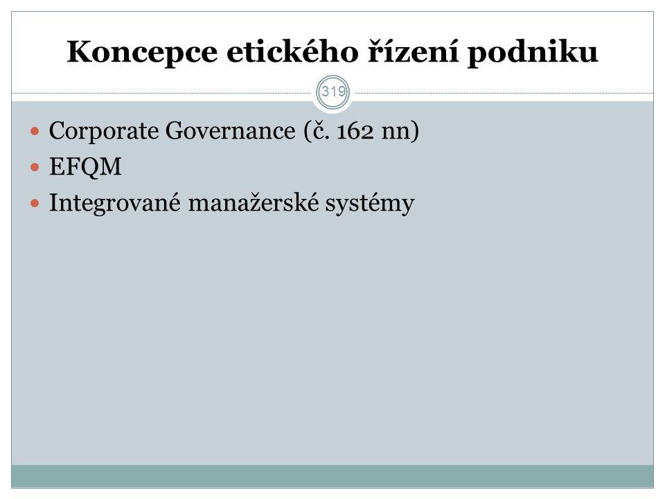 Koncepce etického řízení podniku Corporate Governance (č.
