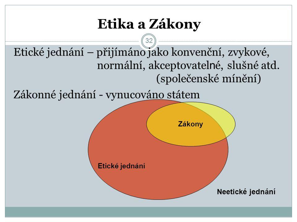32 Etika a Zákony 32 Etické jednání – přijímáno jako konvenční, zvykové, normální, akceptovatel n é, slušné atd.