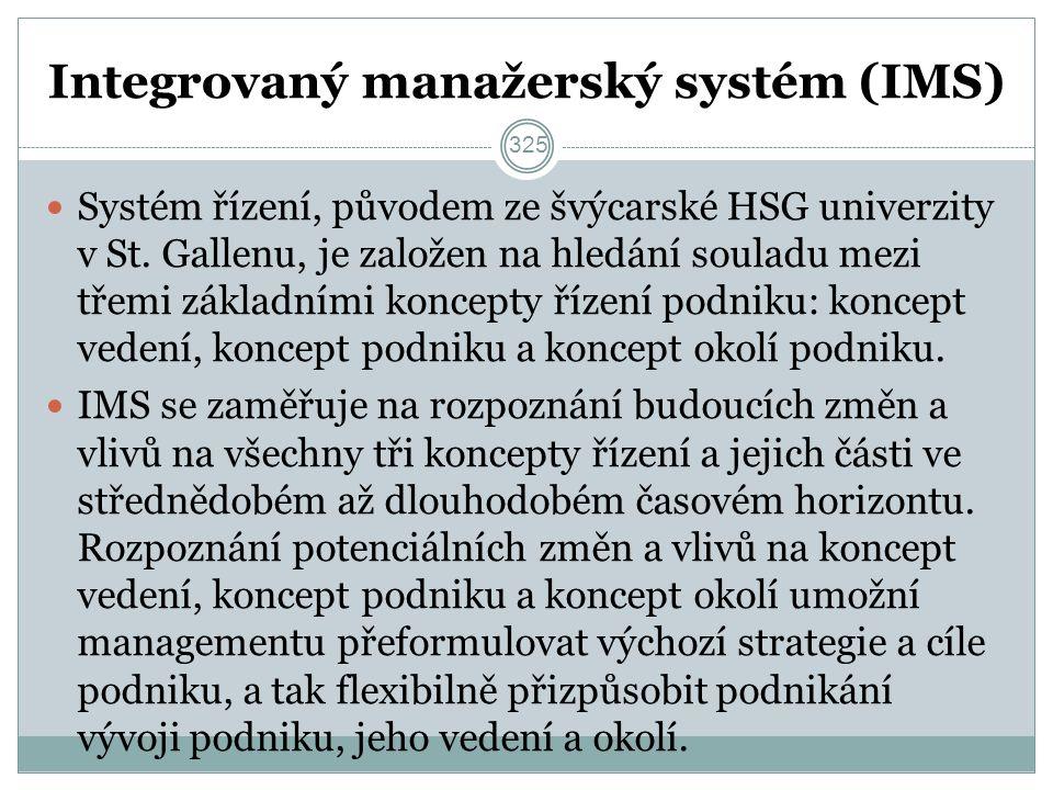 Integrovaný manažerský systém (IMS) Systém řízení, původem ze švýcarské HSG univerzity v St.