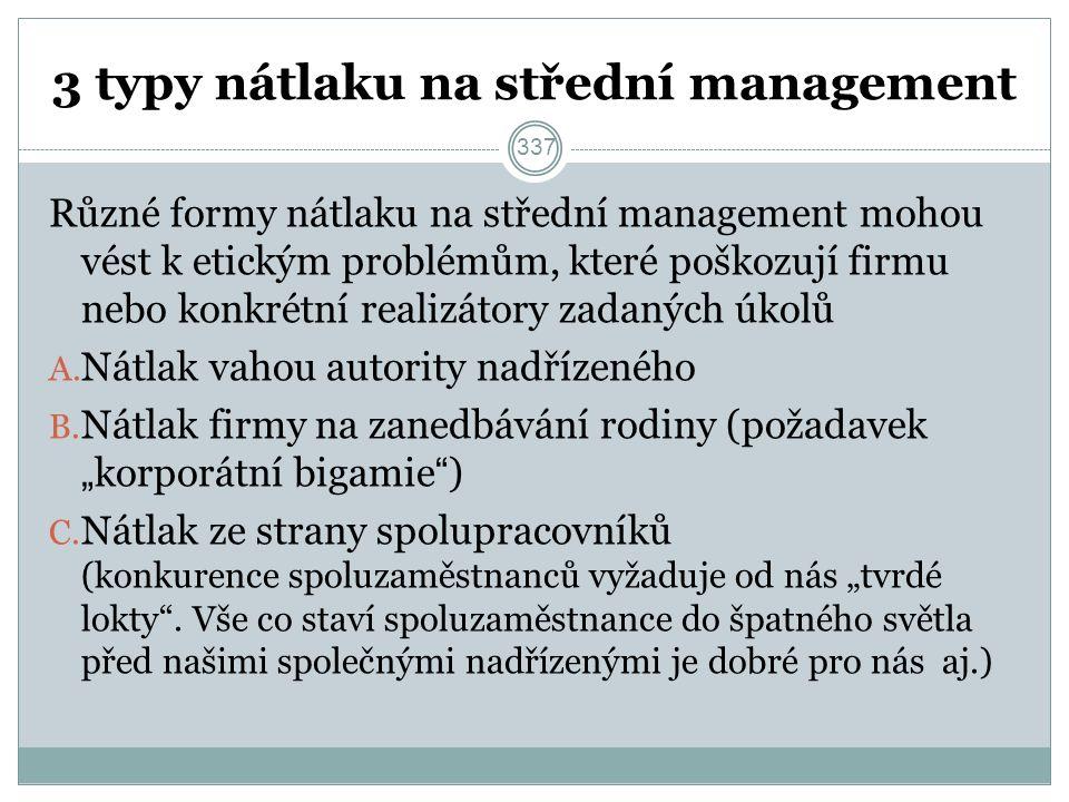 3 typy nátlaku na střední management Různé formy nátlaku na střední management mohou vést k etickým problémům, které poškozují firmu nebo konkrétní realizátory zadaných úkolů A.