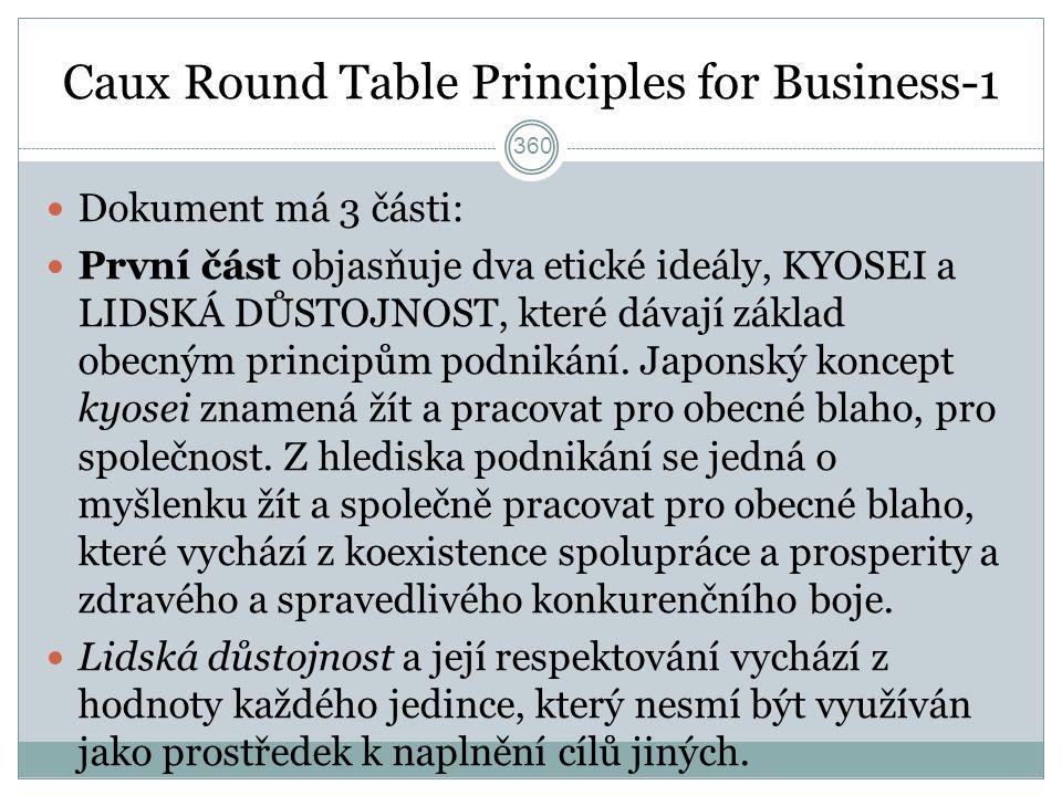 Caux Round Table Principles for Business-1 Dokument má 3 části: První část objasňuje dva etické ideály, KYOSEI a LIDSKÁ DŮSTOJNOST, které dávají základ obecným principům podnikání.