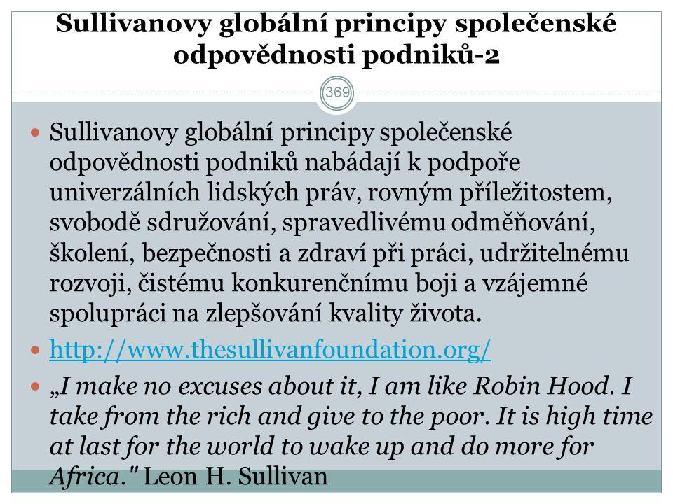 Sullivanovy globální principy společenské odpovědnosti podniků-2 Sullivanovy globální principy společenské odpovědnosti podniků nabádají k podpoře univerzálních lidských práv, rovným příležitostem, svobodě sdružování, spravedlivému odměňování, školení, bezpečnosti a zdraví při práci, udržitelnému rozvoji, čistému konkurenčnímu boji a vzájemné spolupráci na zlepšování kvality života.