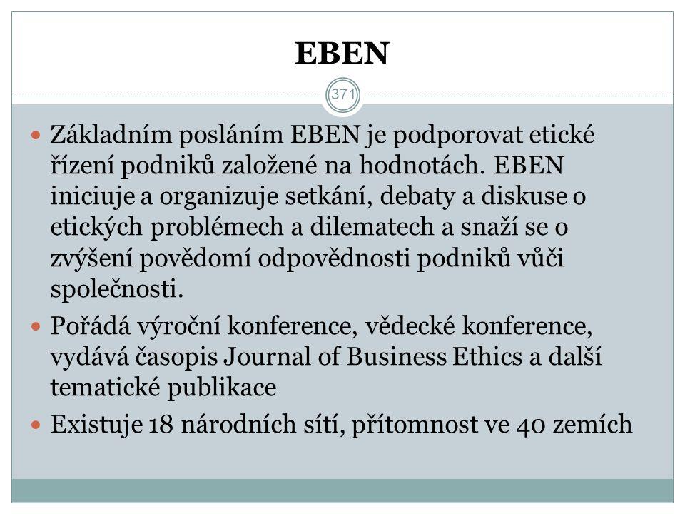 EBEN Základním posláním EBEN je podporovat etické řízení podniků založené na hodnotách.