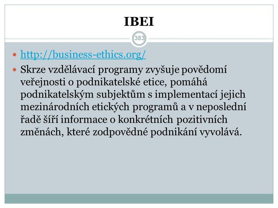 IBEI http://business-ethics.org/ Skrze vzdělávací programy zvyšuje povědomí veřejnosti o podnikatelské etice, pomáhá podnikatelským subjektům s implementací jejich mezinárodních etických programů a v neposlední řadě šíří informace o konkrétních pozitivních změnách, které zodpovědné podnikání vyvolává.