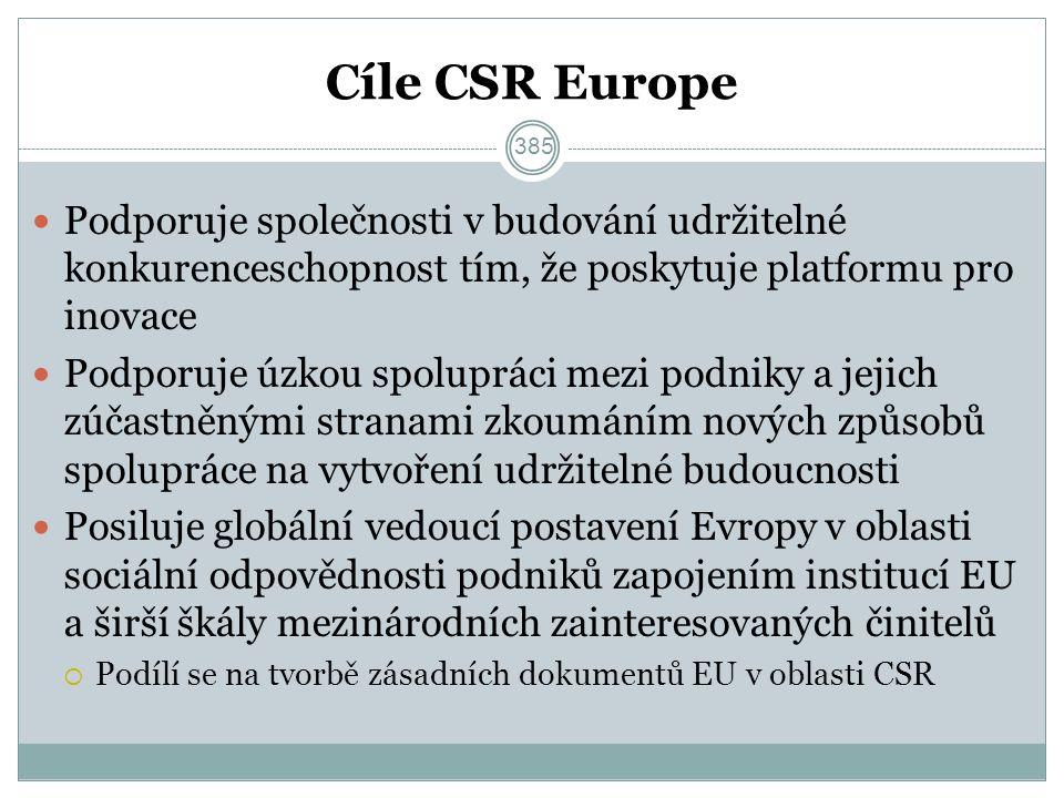 Cíle CSR Europe Podporuje společnosti v budování udržitelné konkurenceschopnost tím, že poskytuje platformu pro inovace Podporuje úzkou spolupráci mezi podniky a jejich zúčastněnými stranami zkoumáním nových způsobů spolupráce na vytvoření udržitelné budoucnosti Posiluje globální vedoucí postavení Evropy v oblasti sociální odpovědnosti podniků zapojením institucí EU a širší škály mezinárodních zainteresovaných činitelů  Podílí se na tvorbě zásadních dokumentů EU v oblasti CSR 385