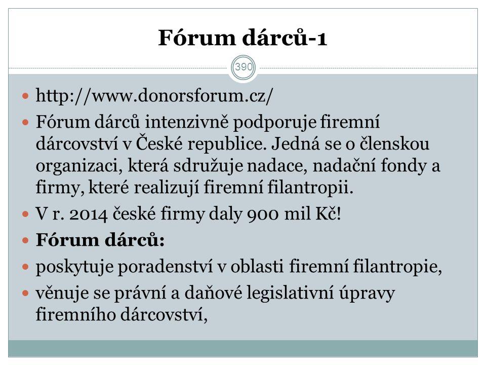 Fórum dárců-1 http://www.donorsforum.cz/ Fórum dárců intenzivně podporuje firemní dárcovství v České republice.