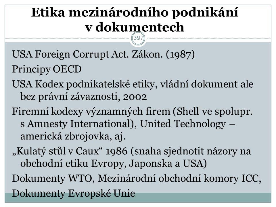 Etika mezinárodního podnikání v dokumentech USA Foreign Corrupt Act.