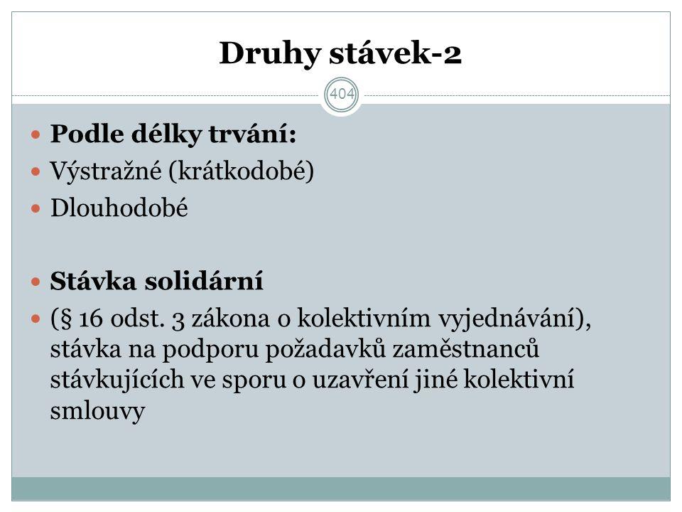 Druhy stávek-2 Podle délky trvání: Výstražné (krátkodobé) Dlouhodobé Stávka solidární (§ 16 odst.