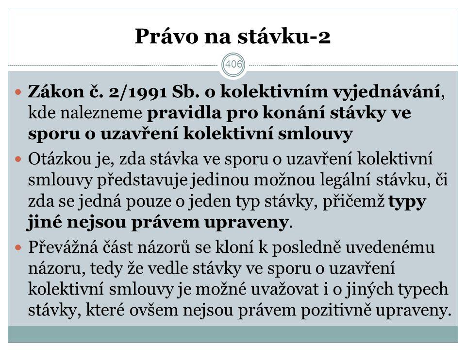 Právo na stávku-2 Zákon č. 2/1991 Sb.