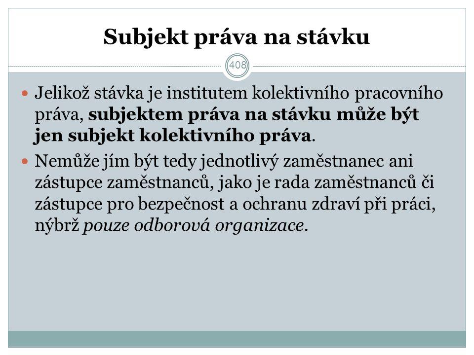 Subjekt práva na stávku Jelikož stávka je institutem kolektivního pracovního práva, subjektem práva na stávku může být jen subjekt kolektivního práva.