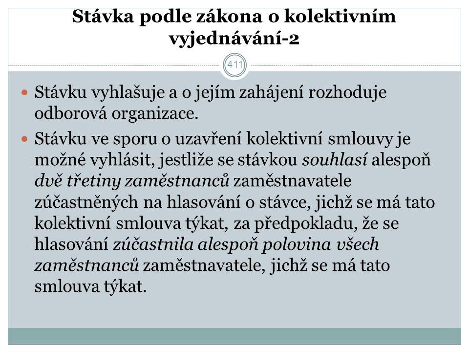 Stávka podle zákona o kolektivním vyjednávání-2 Stávku vyhlašuje a o jejím zahájení rozhoduje odborová organizace.