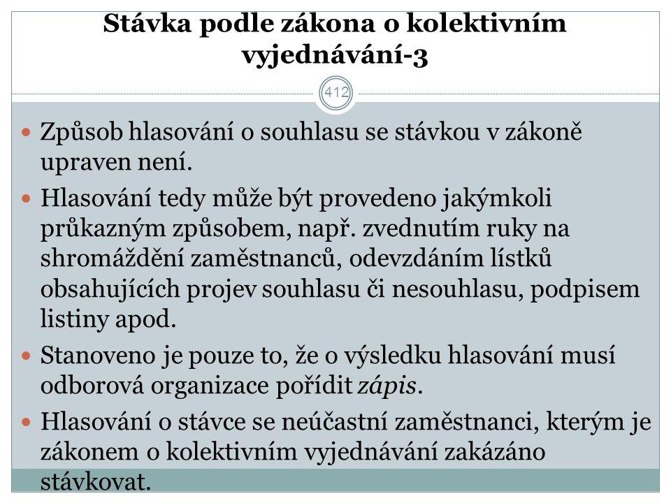 Stávka podle zákona o kolektivním vyjednávání-3 Způsob hlasování o souhlasu se stávkou v zákoně upraven není.