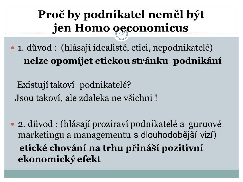 42 . Proč by podnikatel neměl být jen Homo oeconomicus 1.