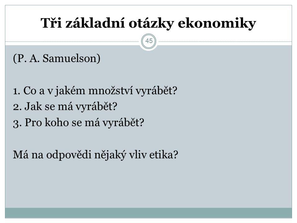45 Tři základní otázky ekonomiky (P. A. Samuelson) 1.