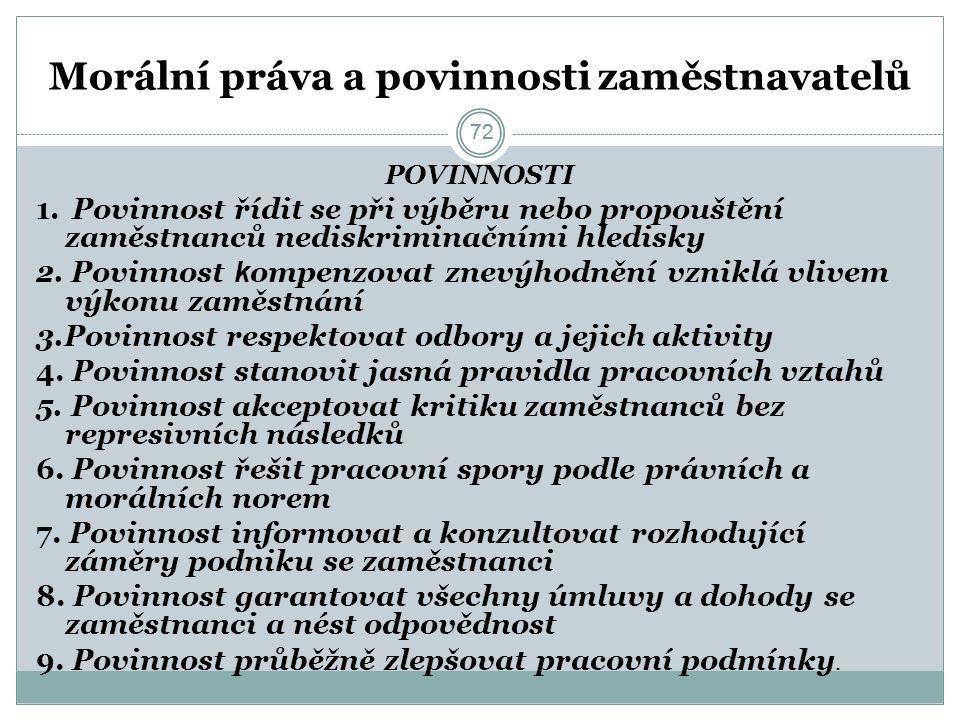 72 Morální práva a povinnosti zaměstnavatelů POVINNOSTI 1.