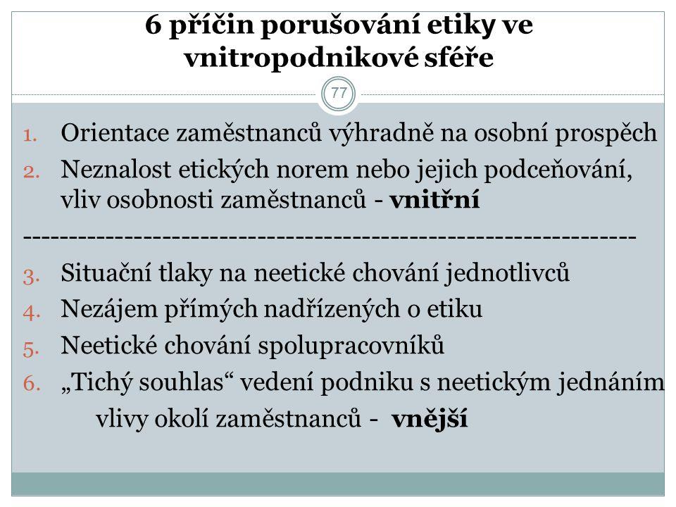 77 6 příčin porušování etik y ve vnitropodnikové sféře 1.