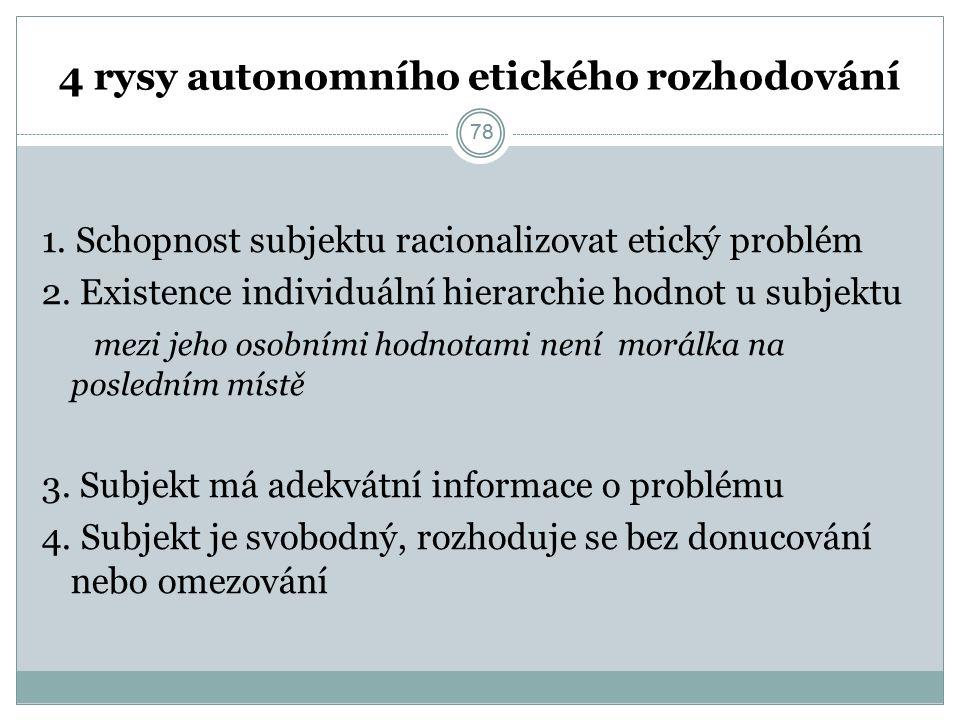 78 4 rysy autonomního etického rozhodování 1. Schopnost subjektu racionalizovat etický problém 2.