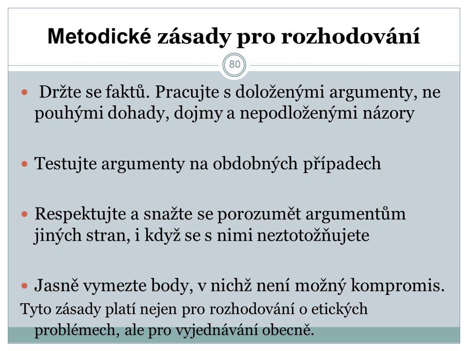 80 Metodické zásady pro rozhodování Držte se faktů.