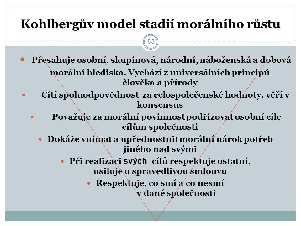 83 Kohlbergův model stadií morálního růstu Přesahuje osobní, skupinová, národní, náboženská a dobová morální hlediska.