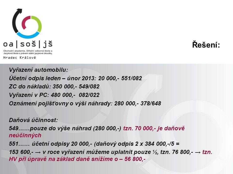 Řešení: Vyřazení automobilu: Účetní odpis leden – únor 2013: 20 000,- 551/082 ZC do nákladů: 350 000,- 549/082 Vyřazení v PC: 480 000,- 082/022 Oznámení pojišťovny o výši náhrady: 280 000,- 378/648 Daňová účinnost: 549……pouze do výše náhrad (280 000,-) tzn.