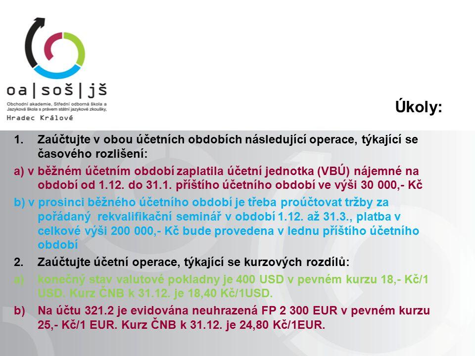 Úkoly: 1.Zaúčtujte v obou účetních obdobích následující operace, týkající se časového rozlišení: a) v běžném účetním období zaplatila účetní jednotka (VBÚ) nájemné na období od 1.12.